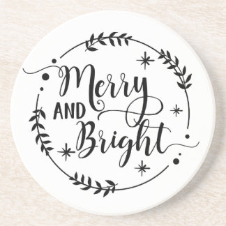 Merry and Bright Christmas Saying Coaster