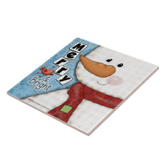 Merry and Bright Christmas Snowman and Red Bird Tile