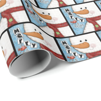 Merry and Bright Christmas Snowman and Red Bird Wrapping Paper