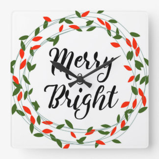 Merry and Bright - Christmas - Square Wall Clock