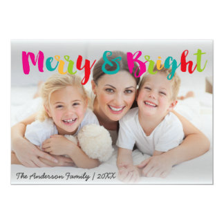 Merry and bright colorful Christmas photo card 13 Cm X 18 Cm Invitation Card
