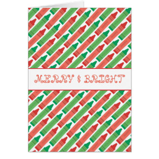 Merry And Bright Colorful Crayon Holiday Card