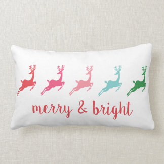 Merry and Bright Dashing Reindeer Silhouette Lumbar Cushion