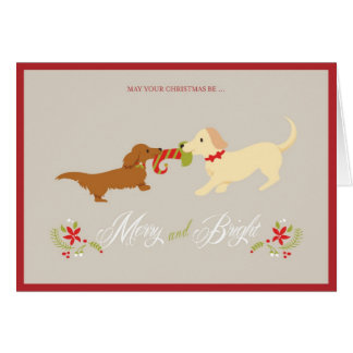 Merry and Bright Doxie Christmas Card