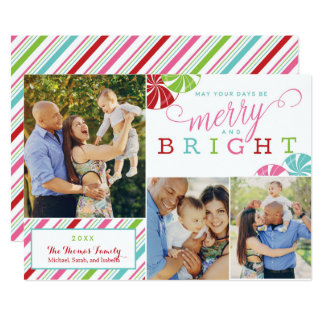 Merry and Bright Flat Card Candy Stripes