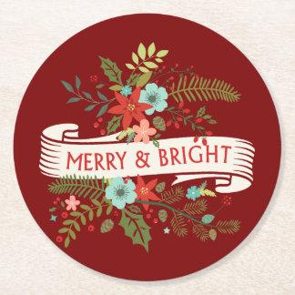 Merry and Bright Floral Christmas Cocktail Coaster Round Paper Coaster
