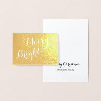 Merry and Bright Gold Christmas Foil Card