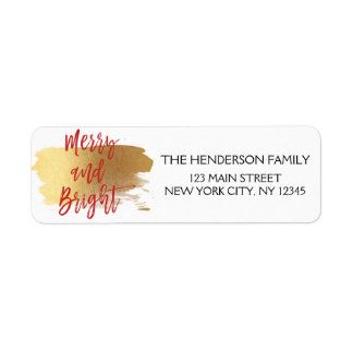 Merry and Bright Gold Foil and Red Christmas Return Address Label