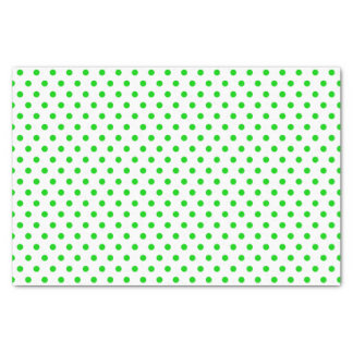 Merry and Bright Green Polka Dots on White Tissue Paper