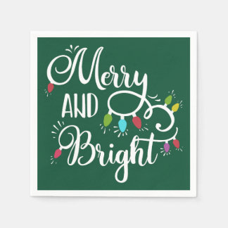 merry and bright holiday lights paper napkin