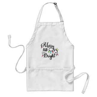 merry and bright holiday lights standard apron