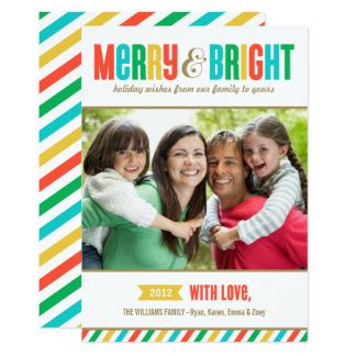 Merry and Bright Holiday Photo Card | Bold Colors 13 Cm X 18 Cm Invitation Card
