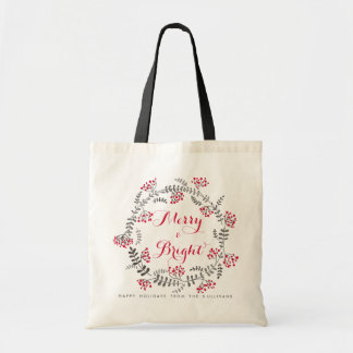 Merry and Bright Holly Wreath Holiday Bag