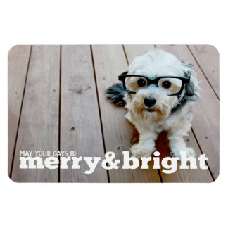 Merry and Bright Horizontal Christmas Photo Rectangle Magnets