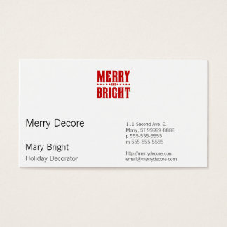 Merry and Bright Letterpress Style No. 507 Business Card