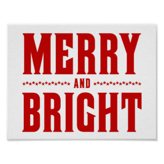 Merry and Bright Letterpress Style No. 507 Posters