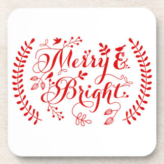 Merry and Bright, Merry Christmas Beverage Coaster