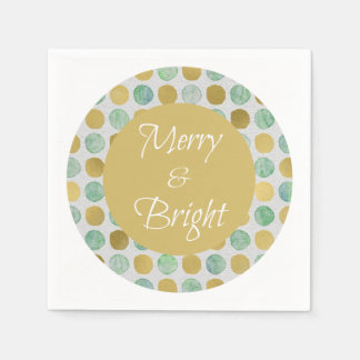 Merry and Bright Modern Dots Christmas Disposable Napkins