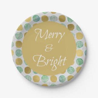 Merry and Bright Modern Dots Christmas Paper Plate
