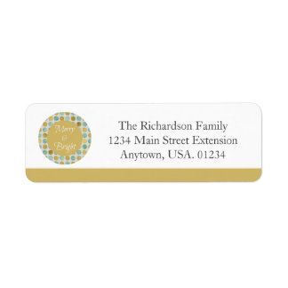 Merry and Bright Modern Dots Christmas Return Address Label