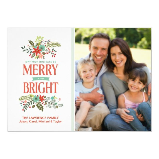 Merry and Bright Modern Floral Family Photo Card