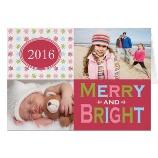 Merry and Bright Modern Folded Holiday Greeting Card