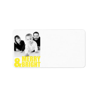 Merry And Bright Modern Photo Address Label