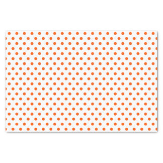 Merry and Bright Orange Polka Dots on White Tissue Paper
