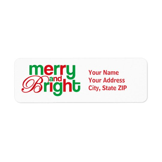 Merry And Bright Personalised Return Address Label