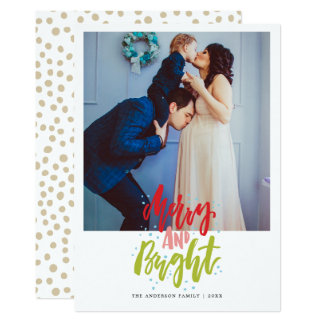 Merry and Bright photo christmas greeting card