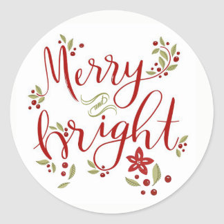 Merry and Bright Poinsettia Leaves & Berries Classic Round Sticker