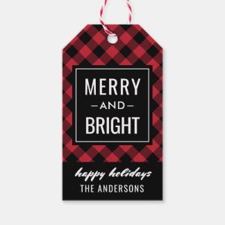 Merry and Bright   Red and Black Buffalo Plaid Gift Tags
