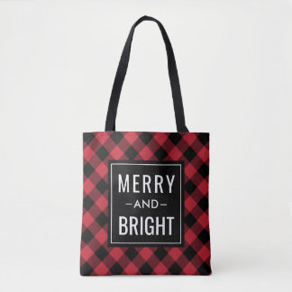 Merry and Bright | Red Buffalo Plaid Holiday Tote Bag