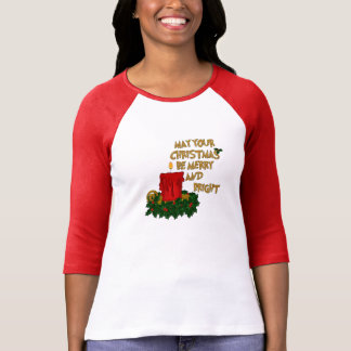 Merry and Bright Red Christmas Candle Jersey T-Shirt