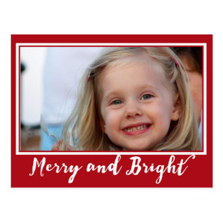 Merry and Bright Simple Border Holiday Photocard Postcard