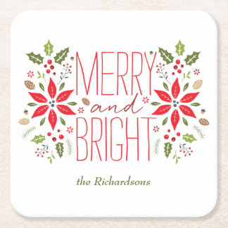 Merry and Bright Square Paper Coaster