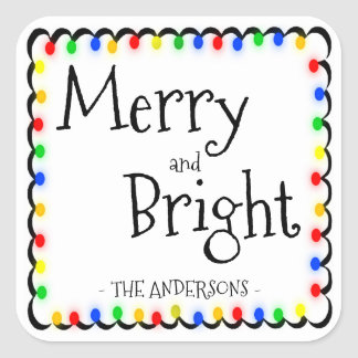 Merry and Bright Square Sticker