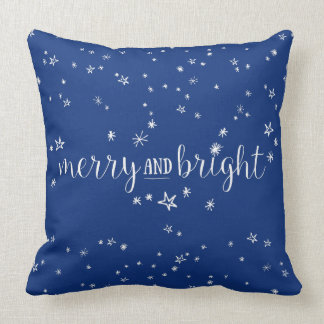 Merry and Bright Stars Holiday Throw Pillow