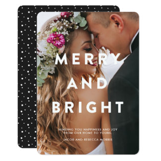 Merry and Bright Typography Overlay Holiday Photo Card