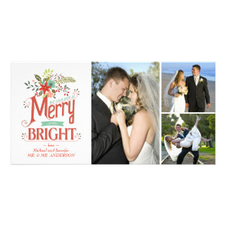 Merry and Bright Vintage Country Floral Photocard Photo Card