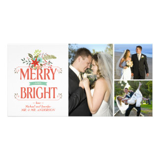 Merry and Bright Vintage Country Floral Photocard Photo Greeting Card