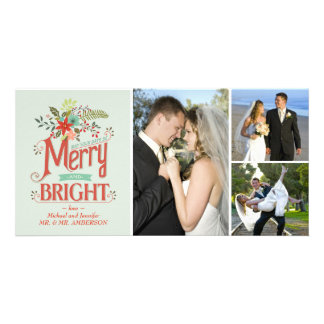 Merry and Bright Vintage Country Floral Photocard Personalized Photo Card