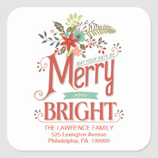 Merry and Bright Vintage Holiday Country Floral Square Sticker