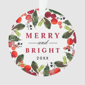 Merry and Bright | Watercolor Christmas Wreath Ornament