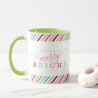 Merry and Bright with Candy Stripes, green handle Mug