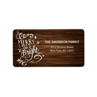 Merry and Bright wood holiday address label