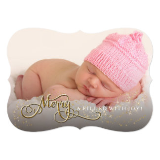 Merry and Joyful Baby Glitter Star Photo Christmas 13 Cm X 18 Cm Invitation Card