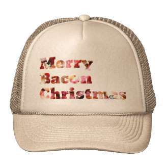Merry Bacon Christmas Mesh Hats