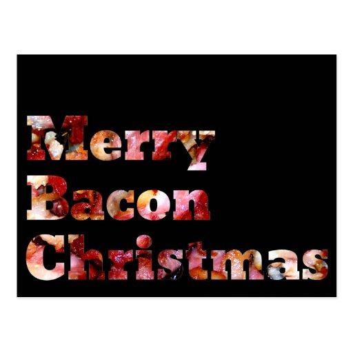 Merry Bacon Christmas Postcard