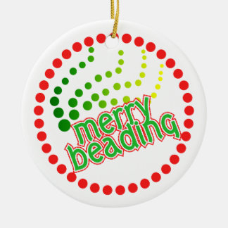 Merry Beading - front and back Ceramic Ornament